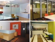 Top right: Lobby looking toward Atrium  Bottom right: Reception  Top left: Conference Room  Bottom left: Kitchen and Copy room
